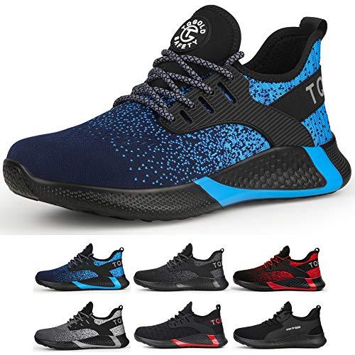 tqgold Sicherheitsschuhe Herren Damen S3 Sportlich rutschfeste Arbeitsschuhe mit Stahlkappe Leichtgewich Breathable Schuhe(Blau,Größe 43)