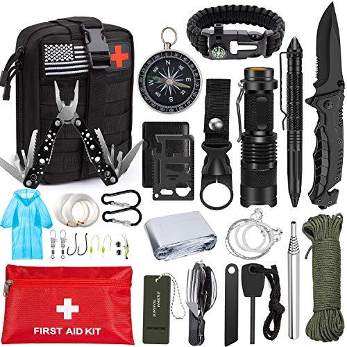 Emergency Survival Kit 47 in 1 Professional Survival Gear Tool...