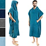 SUN CUBE Surf Poncho Changing Robe with Hood | Thick Quick Dry Microfiber Wetsuit Changing Towel for Surfing Beach Swim Outdoor Sports -Sea Blue
