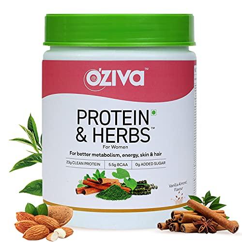 OZiva Protein & Herbs, Women, (Natural Protein Powder with Ayurvedic Herbs like Shatavari, Giloy, Curcumin & Multivitamins for Better Metabolism, Skin & Hair) Vanilla Almond, 500g