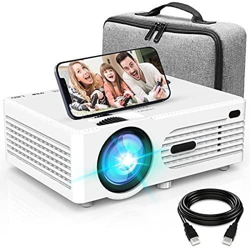 Projecteur AK-80 1080P Full HD Supportée, Rétroprojecteur avec Projecteur Bag, Mini Projecteur 6500L, Vidéoprojecteur Compatible avec TV Stick Smartphone HDMI USB AV, Projecteur Home Cinéma, Blanc.