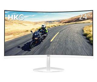 HKC 24'' Curved 1080P LED White Computer VA Panel Gaming Monitor Full HD HDMI VGA
