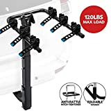 3-Bike Bicycle Hitch Mount Carrier Rack - Heavy Duty Bicycle Carrier Fit Most Sedans, Hatchbacks, Minivans, SUV (2 Inch Receiver), 1 Year Warranty