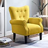 Smile Back Modern Accent Chair with Wood Legs, Wingback Chair, Reading Chair, Comfortable Armrest and Supportable Backrest Armchair,Sofa Club Chair for Living Room, Bedroom, Home Office (Warm Yellow)