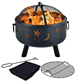 Y-ME Wood Burning Fire Pit Outdoor Patio Campfire Backyard Fireplace,Round Steel Deep Bowl Fire Pit,24 inch