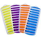 Ozera Set of 4 Silicone Ice Stick Cube Trays, Water Bottle Ice Stick Tray Ice Cube Tray with Easy Push and Pop Out Material, Ideal for Sports and Water Bottles, Assorted Bright Colors