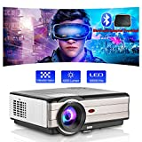 Outdoor Led Video Projector Movie Home Theater Full HD Support with 200 Inch Big Screen Display Zoom Gaming Projector for iPhone Android Smart Phone Laptop TV Stick DVD Blu-ray Player PS5 Wii HDMI USB