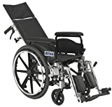 Drive Medical Viper Plus GT Full Reclining Wheelchair, Detachable Full Arms, 18' Seat