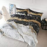 Blessliving Bedding Duvet Cover Set Black White Gold Foil Marble Pattern on Comforter Cover 3 Pieces 1 Marble Abstract Duvet Cover 2 Pillowcases Bed Cover with Zipper Closure (Queen)