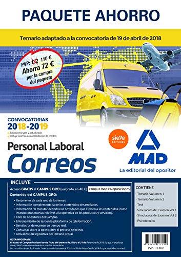 Paquete Ahorro Personal Laboral Correos. Ahorro de 72 € (Incluye Temarios 1 y 2; Test; Simulacros