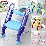 Siège de toilette échelle avec marches WC siège pot Entraîneur de bébé enfant FR (bleu-vert)