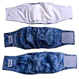 JoyDaog 3 Pack Jean Belly Bands for Male Dog Diapers Reusable Belly Wrap M