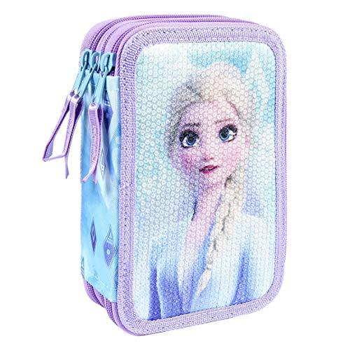 Disney Frozen 2 Astucci per Bambina, Astuccio Triplo Strato, Contiene Gomma, Matita, Temperamatite,...