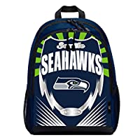"NFL team branded logo and shiny PVC with shiny, metallic accents Two main zippered compartments; dual side mesh pockets; adjustable paddes shoulder straps and mesh back panel Measures 16.5""H x 5.5""D x 12""W Spot clean only. Props not included Made of ..."