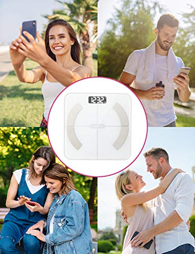 Body Fat Scale Smart BMI Scale Digital Bathroom Wireless Weight Scale, Body Composition Analyzer with Smartphone App sync with Bluetooth, 396 lbs - White 3
