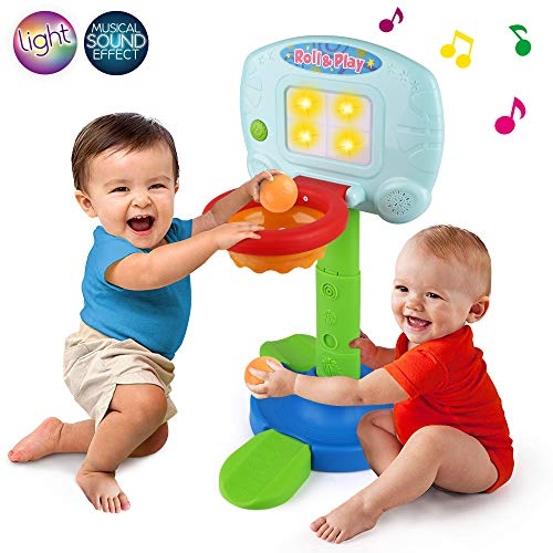 LotFancy Basketball Hoop for Kids Toddlers, Infant 2 in 1 Sports Toy Set, with Light and Music Sound Effect, Baby Electronic Interactive Learning Toy, 18 Months Above, Battery Included