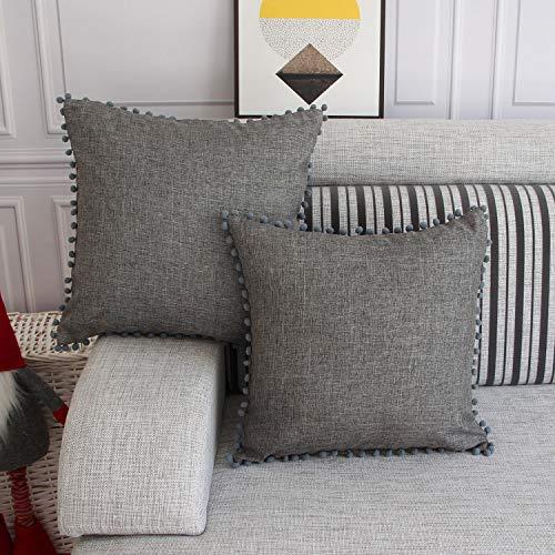 FYJS Confezione da 2 federe in lino artificiale con pom-poms Home Decor Fodera per cuscino quadrato per divano camera da letto 45x45cm,Grigio scuro