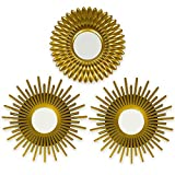 BONNYCO Espejos Pared Decorativos Dorados Pack 3 Espejos Decorativos Ideales para Decoracion Casa,...