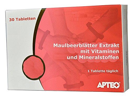 Maulbeerblätter Extrakt 200mg, 15 Vitamine und Mineralstoffe, für niedrigen Zuckerspiegel, gegen Heißhunger, bremsen Appetit, zum Abnehmen, Cholesterinsenker, 30 Tabl., Monatspackung,