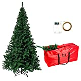LAMPTOP 6FT/180cm Artificial Christmas Tree   Kingswood Fir Pencil Tree Slim  Includes Stand, Storage Bag, 1000CM Copper Fariy Light  Perfect Holiday Decoration for Christmas Party Xmas Decor