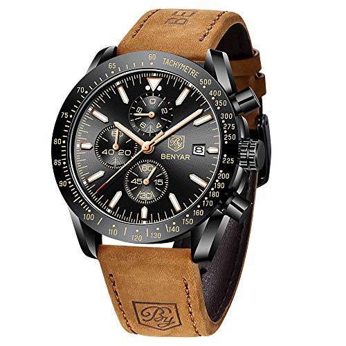 BENYAR Herren Uhr Chronograph Analogue Quartz Wasserdicht Business Schwarz Zifferblatt Armbanduhr mit Braunes Leder Armband