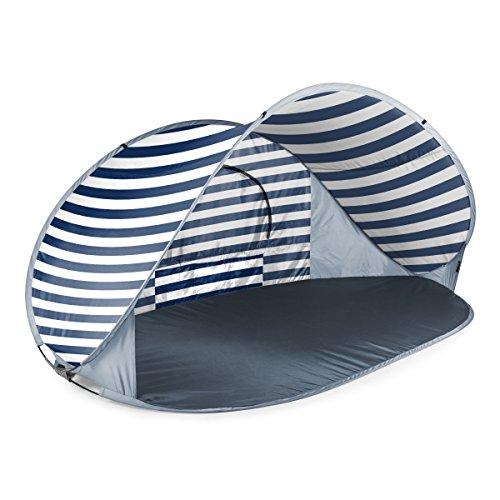 ONIVA - a Picnic Time Brand Manta Portable Pop-Up Sun/Wind Shelter, Navy/White Stripes, 86.6