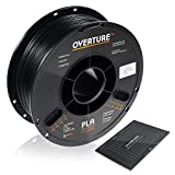 OVERTURE PLA Filament 1.75mm with 3D Build Surface 200mm  200mm 3D Printer Consumables, 1kg Spool (2.2lbs), Dimensional Accuracy +/- 0.05 mm, Fit Most FDM Printer, Black
