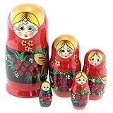 Azhna Lot de 5 poupées russes russes à empiler en bois peintes à la main 15...