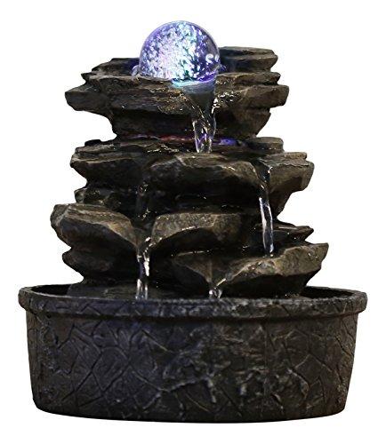 Zen\'Light Little Rock Brunnen aus Polyresin, Dunkelbraun, 20x 20x 23cm