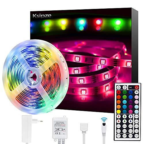 Striscia LED, Ksipze LED Striscia 5M 12V Autoadesiva Luci Led Colorate con 44 Tasti Telecomando Luminosit Regolabile Nastri Led Retroilluminazione per Camera TV Cucina Sottopensile Decorazione