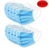 UTOTEBAG Safety Masks 20PCS 3-Layer Face Cover,Waterproof,Blue