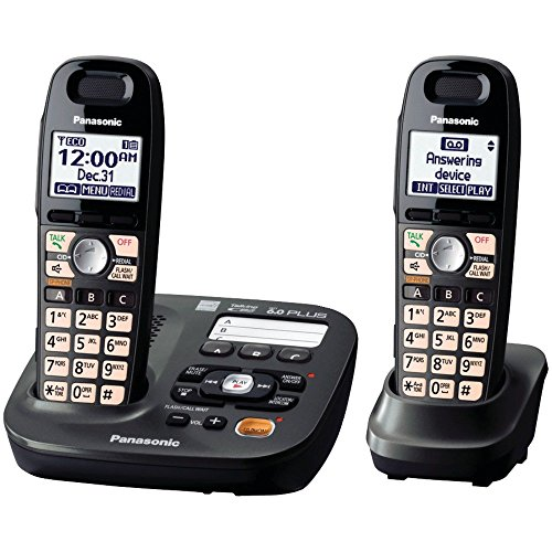 Panasonic DECT 6.0 Plus Cordless Amplified Phone with Digital Answering System Expandable to 6 Handsets Talking Caller ID – 2 Handsets Included (KX-TG6592T),Titanium Black