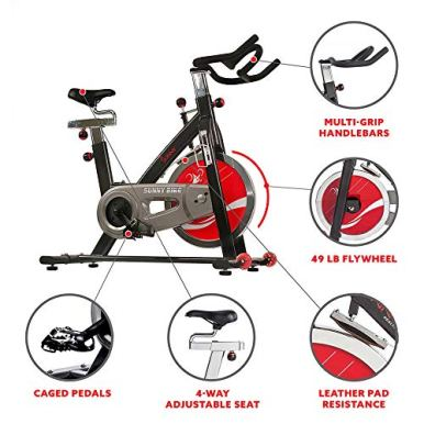 Sunny-Health-Fitness-Indoor-Cycling-Exercise-Bike-with-Heavy-49-LB-Chrome-Flywheel-SF-B1002C