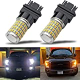 iBrightstar Newest Super Bright 3157 4157 3155 3457 Switchback LED Bulbs with Projector Replacement for Daytime Running Lights / DRL and Turn Signal Lights,White/Amber