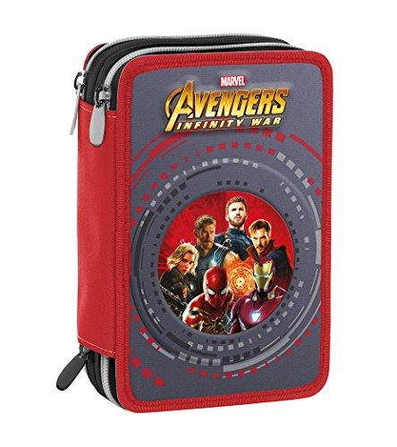 Astuccio 3 Zip Marvel Avengers Infinity War, Rosso Multicolore, Con materiale scolastico: 18...