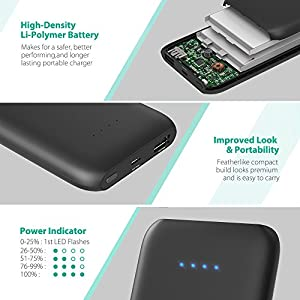 RAVPower 10000mAh Portable Charger, Ultra-Slim Power Bank with Quick Charge 3.0 Input & Output, High-Density Li-Polymer Battery Pack for iPhone X, 8 Plus, 8, Galaxy S8, Note8, and More