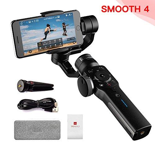 Zhiyun Smooth-4 per iPhone X 8 7 Plus 6 Plus Capacità di messa a fuoco e zoom, Tracciamento oggetti, Ricarica a due vie, (Nero)