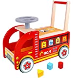 Pidoko Kids Ride On Fire Truck - Wooden Push and Pull Walker Cart - Balance Wagon Toy for Toddlers Boys & Girls age 18 Months and up