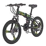 SD G20 20 Inch Folding Bike 3 Spoke Wheel Mechanical Disc Brake Mountain Bikes 18 Speed Gears Full Suspension Foldable Bicycle Green