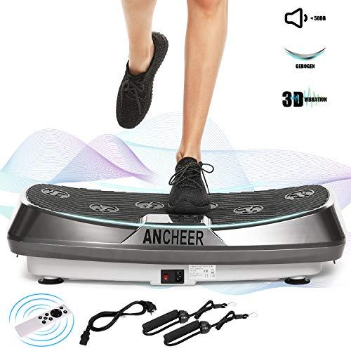 ANCHEER Dual-Motor 3D Vibrationsplatte Fitness, vibrationsgeräte mit Extra Große Anti-Rutsch-Oberfläche | Einmaliges Curved Design | LCD Color Display, inkl. Fernbedienung, Trainings-Bänder, Max 120kg