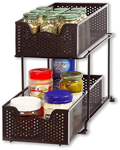 SimpleHouseware 2 Tier Sliding Cabinet Basket Organizer Drawer,...