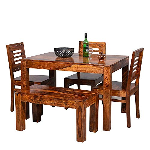 Mamta Decoration Sheesham Wood 4 Seater Dining Table with 3 Chairs and 1 Bench for Living Room