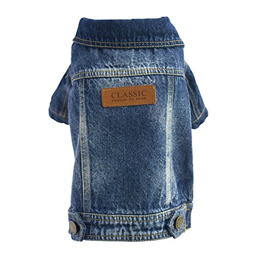 SILD Pet Clothes Dog Jeans Jacket Cool Blue Denim Coat Medium Small Dogs Lapel Vests Classic Hoodies Puppy Blue Vintage Washed Clothes(M, Badge)