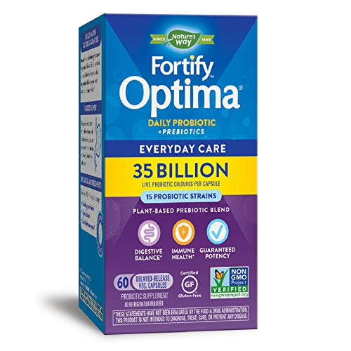 Natures Way Fortify Optima Probiotic + Prebiotic, 35 Billion Live Cultures, 15 Strains, Non-GMO Project Verified, 60 Vegetarian Capsules