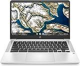 HP Chromebook 14a-na0005ns - Ordenador portátil de 14' FullHD (Celeron N4020, 8GB de RAM, 128GB Emmc, Intel Uhd Graphics, sistema operativo Chrome OS ) Plata - teclado QWERTY Español