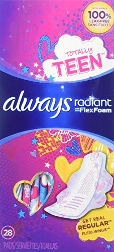 Always Radiant Totally Teen Pads with FlexFoam Flexi-Wings Flexible Wings, 28 Count, 2 Pack. (Includes 56 Pads Total.) Lasts Up to 8 Hours. Absorbs 10X Its Weight. Individually Wrapped Pads.