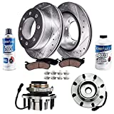 Detroit Axle - Front Wheel Bearing Hub Assembly and Drilled Slotted Brake Kit Rotor w/Ceramic Pad Kit for 00-02 Ford Excursion - [00-04 F-250/350 Super Duty] - 4WD Coarse Thread SRW