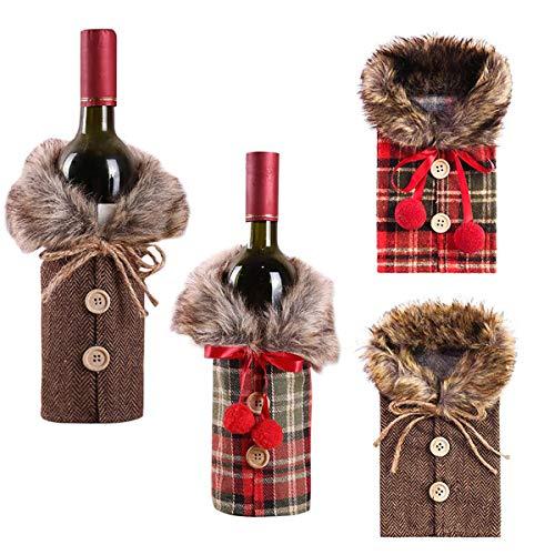 Paquete de 4 fundas para botellas de vino de Navidad, collar de regalo de decoración de Navidad y suéter de botella de vino.