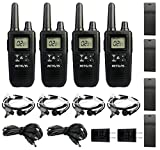 Retevis RT41 Walkie Talkies for Adult Rechargeable NOAA Weather Alert FRS 121 Privacy Codes LCD 10 Call Alert VOX 2 Way Radio with Headset(4 Pack)