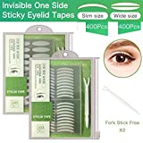 2 Packs/800Pcs Natural Invisible Single Side Eyelid Tape Stickers Medical-use Fiber Eyelid Lift Strip, Instant Eye Lift Without Surgery, Perfect for Uneven Mono-Eyelids